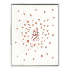 All My Love Letterpress Greeting Card