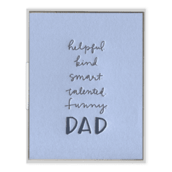 Dad Attributes Letterpress Greeting Card