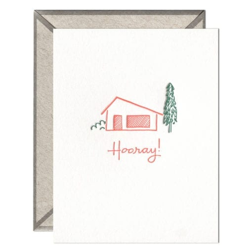 Hooray Home Letterpress Greeting Card with Envelope