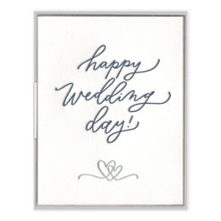 Happy Wedding Day Script Letterpress Greeting Card