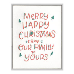 Merry Happy Wishes Letterpress Greeting Card with Envelope