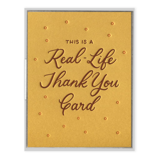 Real-Life Thank You Card Letterpress Greeting Card with Envelope